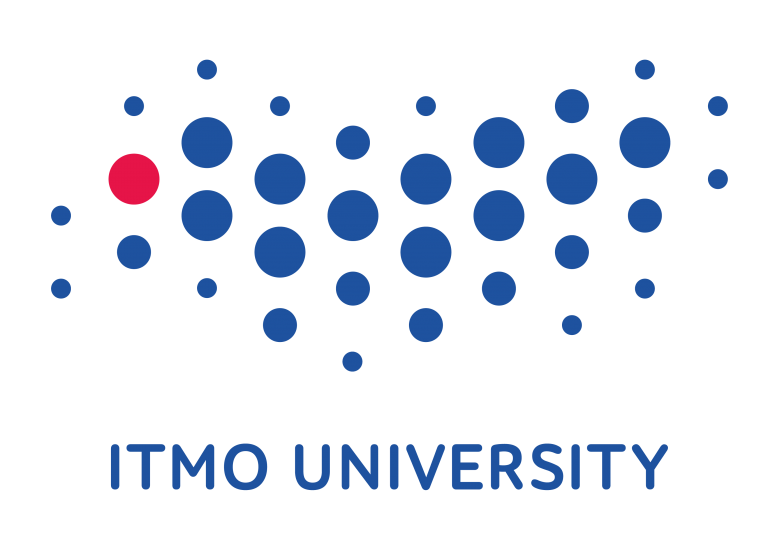 Heart shape made of small, blue, loosely-spaced circles. Blue text in capitals underneath: ITMO University