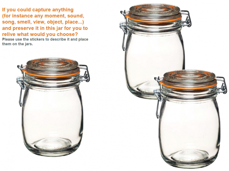 Image of a page showing 3 empty jars, with the question, if you could put anything in this jar to relive, what would it be?